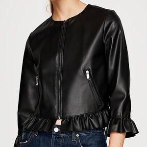 Zara Leather Effect Frilled Jacket - Size S/M